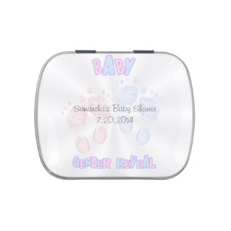Gender Reveal FootPrints Baby Shower Party Favor Candy Tins
