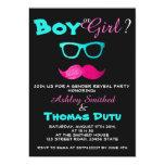 Gender Reveal Funny Pink Mustache Teal Glasses Card