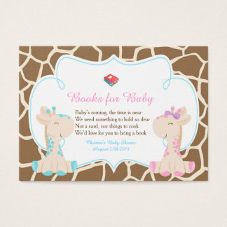 Gender Reveal Giraffe Book Request for Baby Shower Business Card
