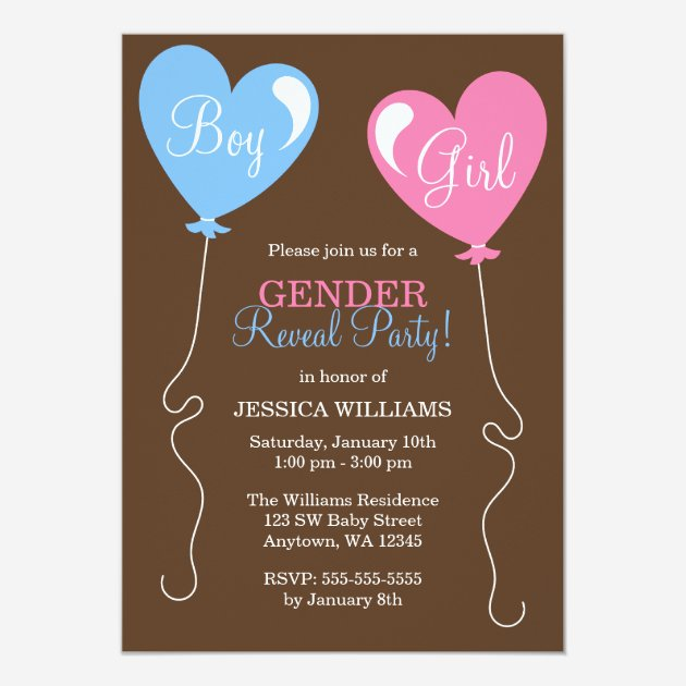 Custom gender reveal party invites templates babyfavors4u gender reveal heart balloons pink and blue 5x7 paper invitation card stopboris Image collections
