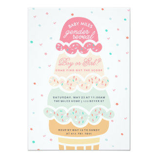 GENDER REVEAL - here's the scoop ice cream party Card
