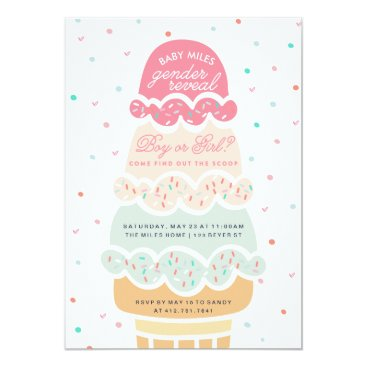 Toddler & Baby themed GENDER REVEAL - here's the scoop ice cream party Card