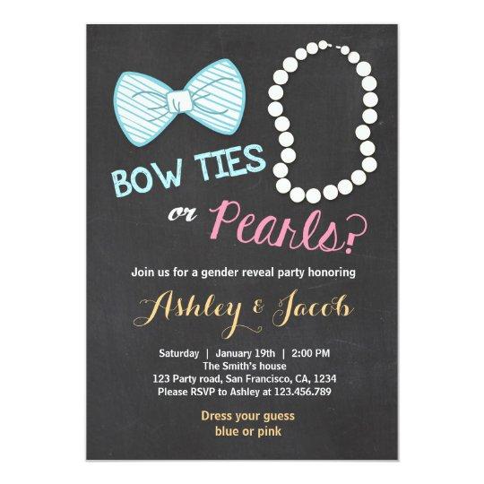 Gender reveal invitation Baby shower Bowtie pearls Zazzlecom
