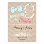 Gender reveal invitation Baby shower Bowtie pearls