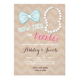 Gender reveal invitation Baby shower Bowtie pearls