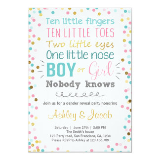 Gender Reveal Party Invitations Zazzle