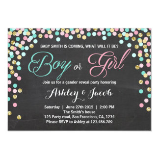 Gender reveal invitation Baby shower He or She