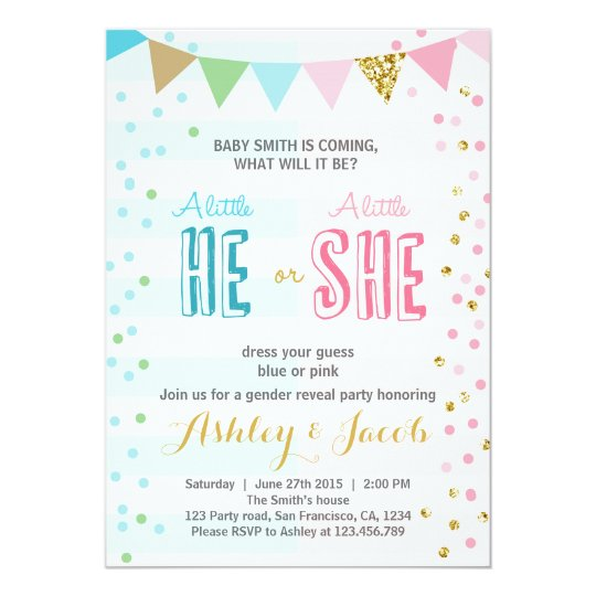 gender reveal invitation baby shower he or she zazzle