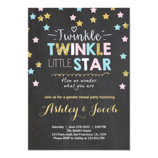 Gender Reveal Invitation Baby Shower Twinkle Star at Zazzle