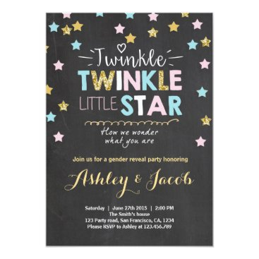 Anietillustration Gender reveal invitation Baby shower Twinkle Star