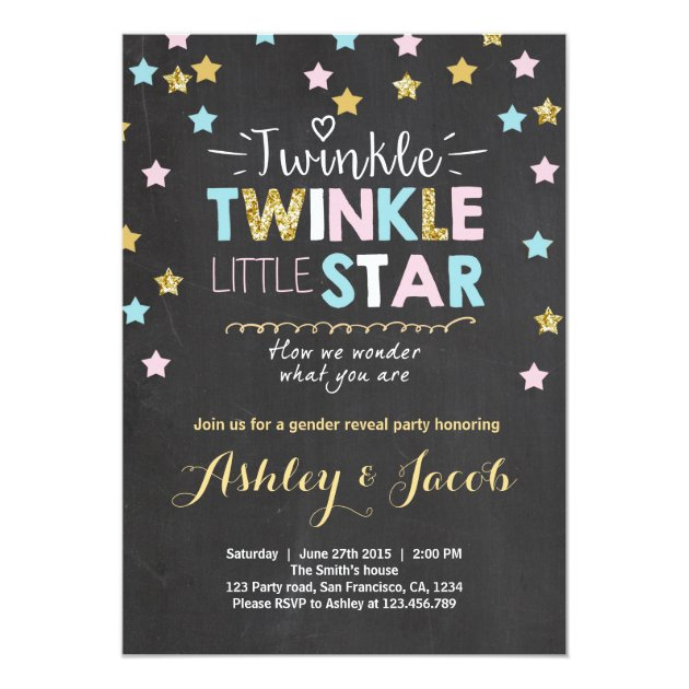 gender reveal invitation baby shower twinkle star | zazzle, Baby shower invitations