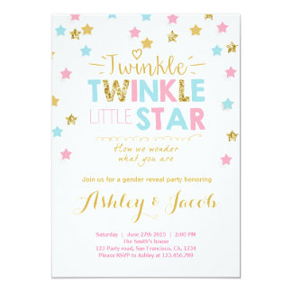 gender_reveal_invitation_baby_shower_twinkle_star r16160a694c3242abbf2d584471b9bb07_zkrqs_324?rlvnet=1 gender reveal party invitations & announcements zazzle,Baby Gender Reveal Invitations