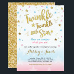 "Gender reveal invitation Baby shower Twinkle Star<br><div class=""desc"">♥ A perfect way to invite your guests to gender reveal party! Little star theme with pink,  blue and gold.</div>"