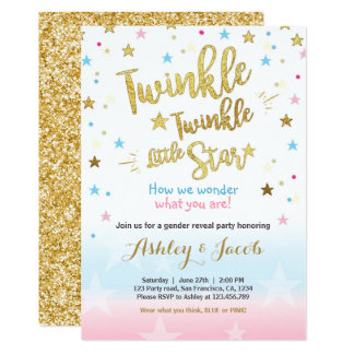 Beautiful Gender Reveal Invitation Baby Shower Twinkle Star