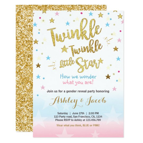 gender reveal invitation baby shower twinkle star zazzle com