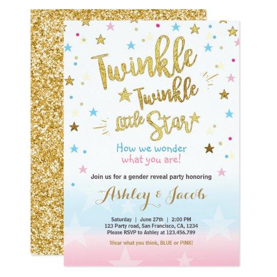 Gender reveal invitation baby shower twinkle star zazzle gender reveal invitation baby shower twinkle star filmwisefo
