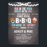 "Gender Reveal Invitation BabyQ BBQ Couples Shower<br><div class=""desc"">♥ A perfect way to invite your guests to gender reveal party!</div>"