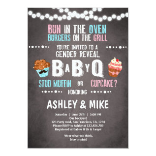 Gender Reveal Invitation Babyq Bbq Couples Shower at Zazzle