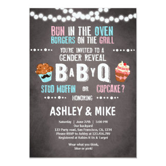 Gender Reveal Invitation BabyQ BBQ Couples Shower