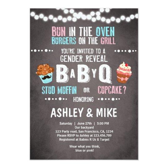 Gender Reveal Invitation BabyQ BBQ Couples Shower   Zazzle.com