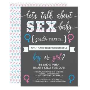 Gender reveal invitations announcements zazzle gender reveal invitation lets talk about gender card stopboris Image collections