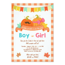 Gender reveal invitation Little pumpkin He or She