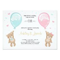 Gender reveal invitation Teddy bears Boy or Girl