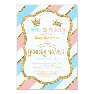 Gender Reveal Invite, Prince, Princess, Faux Gold Card