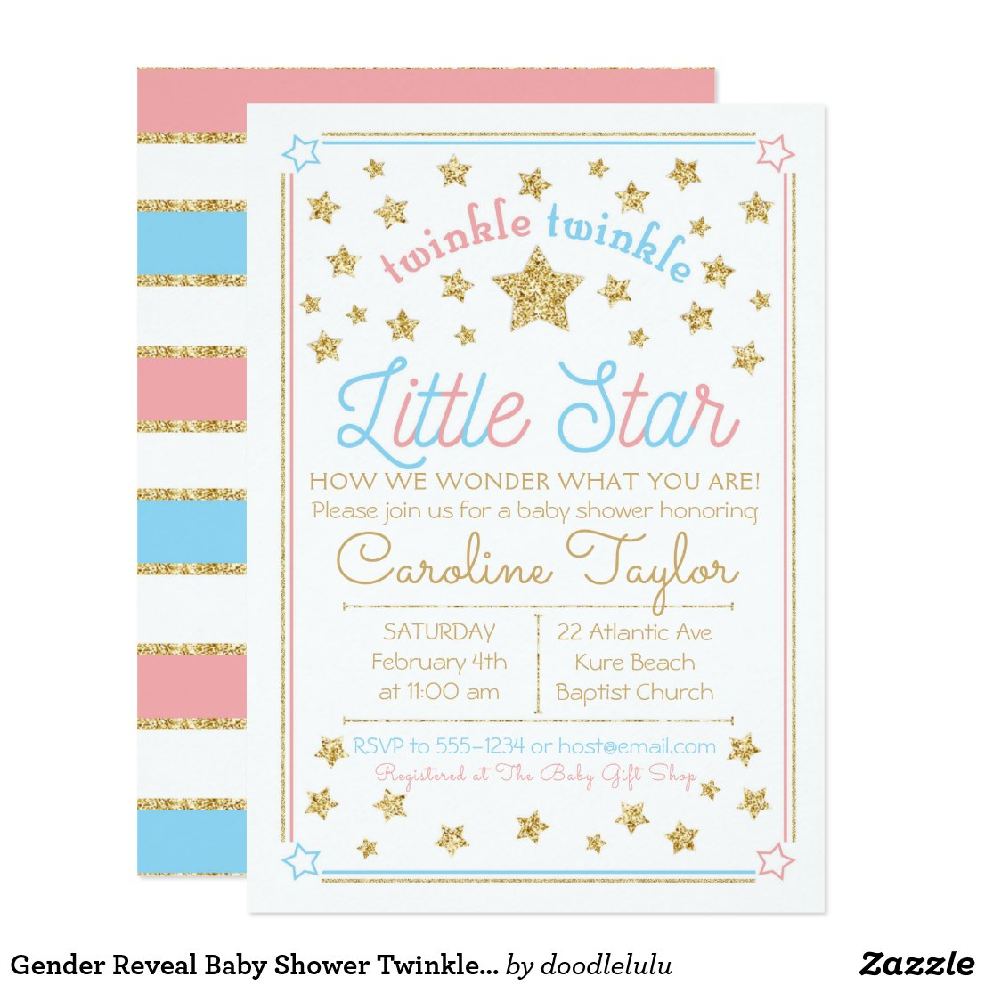 Gender Reveal Little Star Baby Shower Invitation