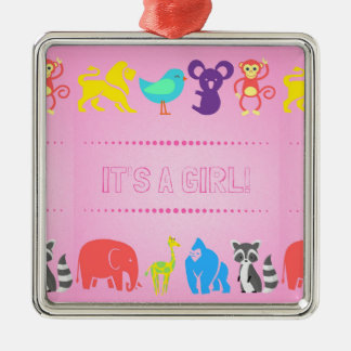 Gender Reveal Ornament: Girl Metal Ornament