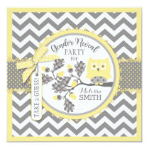 Gender Reveal Owl Chevron Print Baby Shower Party Card