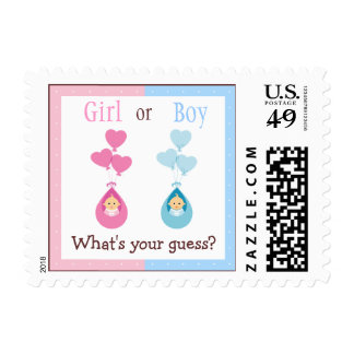 Gender Reveal Party Babies & Heart Balloons Stamps