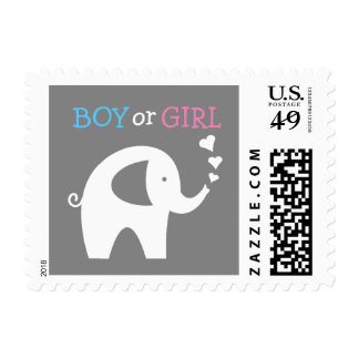 Gender reveal party baby boy girl elephant stamps