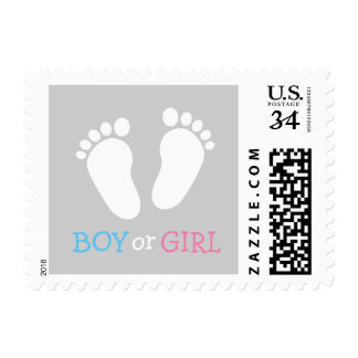 Gender reveal party baby boy girl footprint stamps