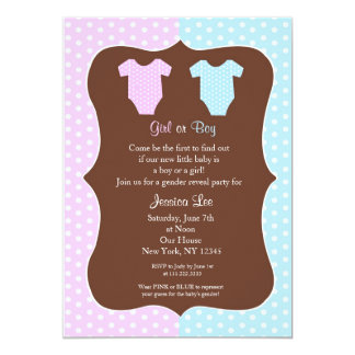 """Gender Reveal Party Baby Shower Invitation 5"""" X 7"""" Invitation Card"""