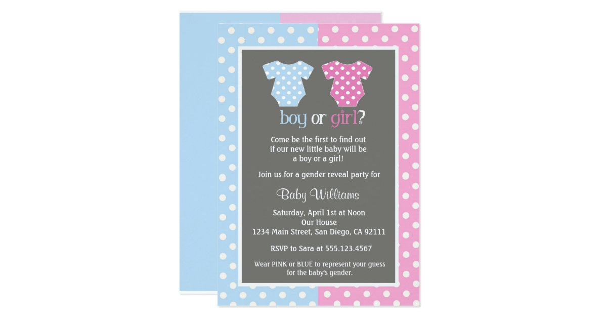 gender reveal party baby shower invitations zazzle