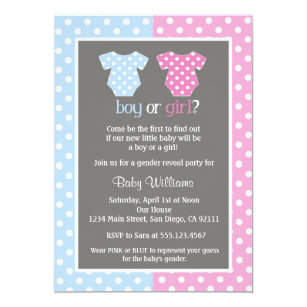Gender reveal party invitations zazzle gender reveal party baby shower invitations stopboris Image collections