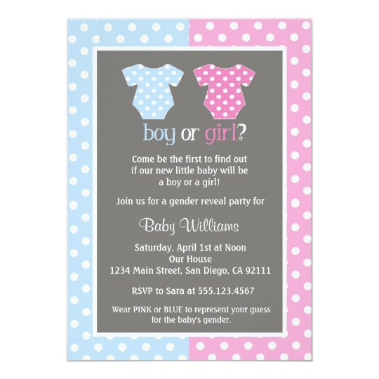 Gender Reveal Party Baby Shower Invitations Zazzlecom