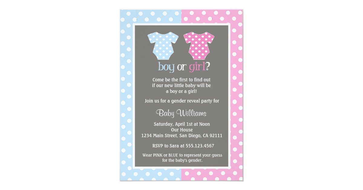 gender reveal party baby shower invitations - Gender Reveal Party Invites
