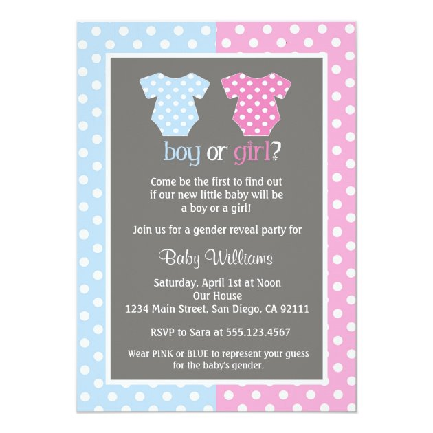 Perfect Gender Reveal Party Baby Shower Invitations