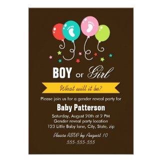 Gender reveal party balloons stars baby footprints custom announcements