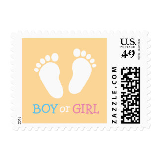 Gender reveal party boy or girl baby feet stamps