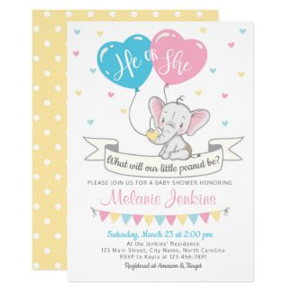 Gender Reveal Party Invitation Elephant