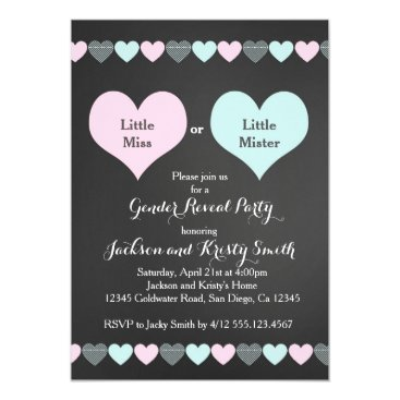 Valentines Themed Gender Reveal Party Invitation Hearts
