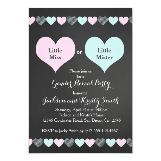 Gender Reveal Party Invitation Hearts Zazzlecom