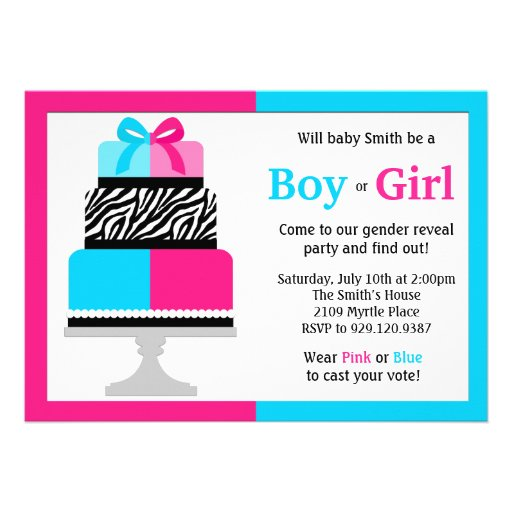 "Gender Reveal Party Invitation Pink Blue Cake 5"" X 7 ..."
