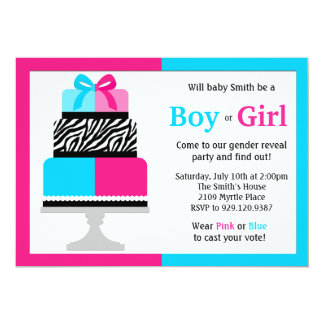 "Gender Reveal Party Invitation Pink Blue Cake 5"" X 7"" Invitation Card"