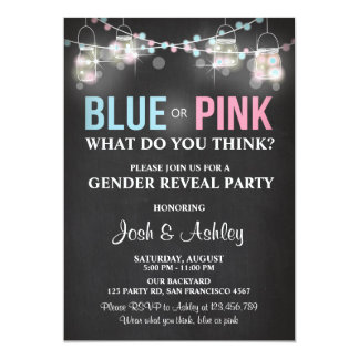 Gender reveal party invitation Rustic chalk Shower