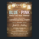 "Gender reveal party invitation Rustic Wood Shower<br><div class=""desc"">♥ A fun and rustic invitation for your gender reveal party! Rustic wood background with lights.</div>"