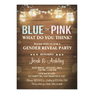 Gender Reveal Party Invitation Rustic Wood Shower at Zazzle